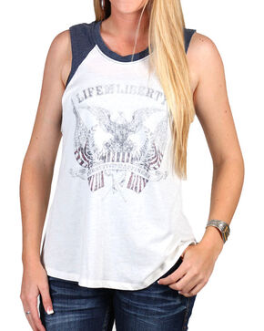 Others Follow Women's Life Liberty Muscle Tank, Ivory, hi-res