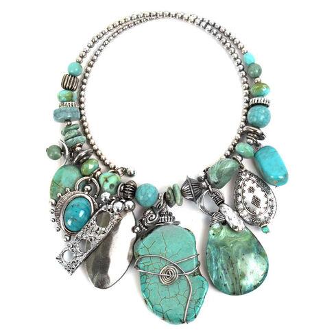 Treska Women's Mykonos Chunky Dangle Coil Necklace , Turquoise, hi-res