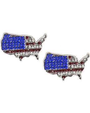 Shyanne Women's Rhinestone USA Earrings, Silver, hi-res