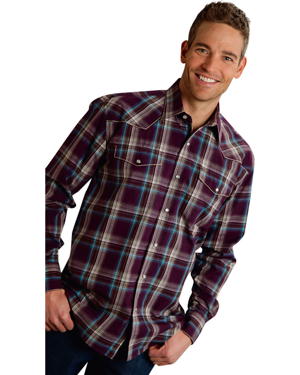 Roper Men's Amarillo Collection Purple Plaid Snap Long Sleeve Shirt, Purple, hi-res