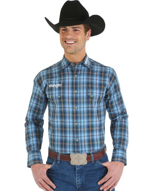 Wrangler Blue and Tan Plaid Logo Long Sleeve Shirt, Blue, hi-res