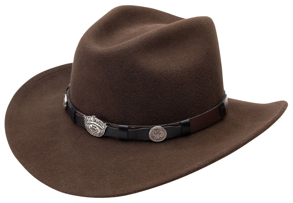 Jack Daniel's Men's Brown Crushable Wool Scalloped Concho Band Hat, Brown, hi-res