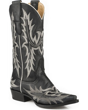 Stetson Women's Tina Flame Pita Embroidery Western Boots - Snip Toe, Black, hi-res