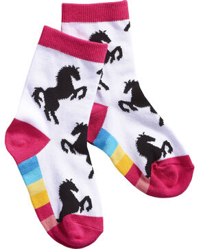 Shyanne Girls' Horse Rainbow Crew Socks, White, hi-res