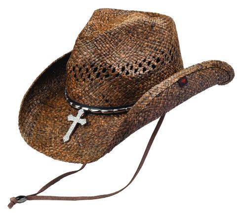 Peter Grimm Wagon Raffia Straw Cowboy Hat, Brown, hi-res