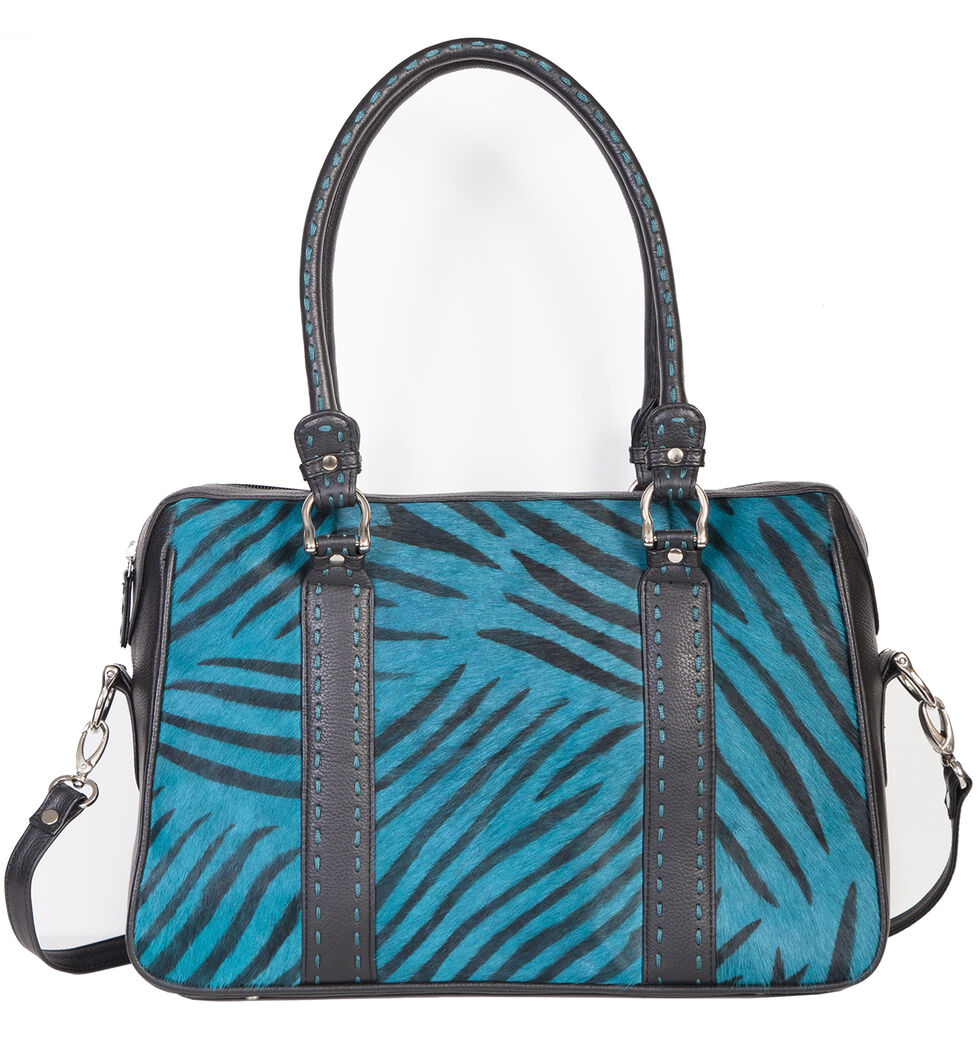 Scully Turquoise Calf Hair Zebra Print Tote, Turquoise, hi-res