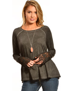 Black Swan Women's Drizzle Long Sleeve Lace Top, Black, hi-res