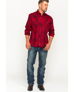 Wrangler Retro Men's Red Plaid with Overprint Long Sleeve Snap Shirt, Red, hi-res