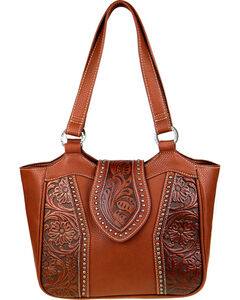 Trinity Ranch Women's Genuine Floral Tooled Handbag , Brown, hi-res
