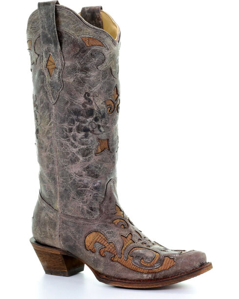 Corral Women's Vintage Antique Saddle Lizard Inlay Cowgirl Boots - Snip Toe , Brown, hi-res