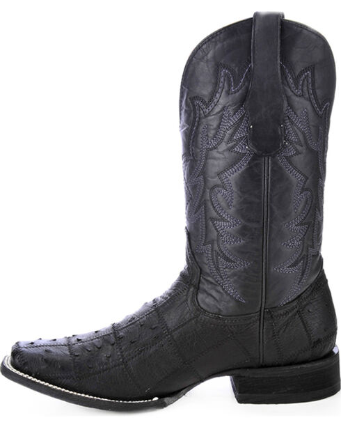 Circle G Ostrich Patchwork Cowboy Boots - Square Toe, Black, hi-res