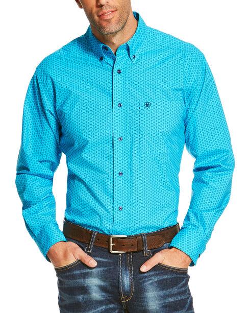 Ariat Men's Turquoise Riverton Long Sleeve Printed Shirt , Turquoise, hi-res