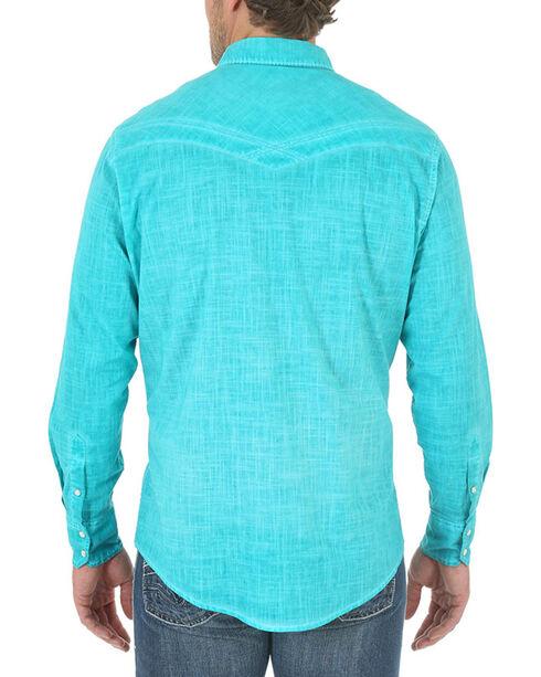 Wrangler 20X Men's Turquoise Slub Long Sleeve Shirt, Turquoise, hi-res