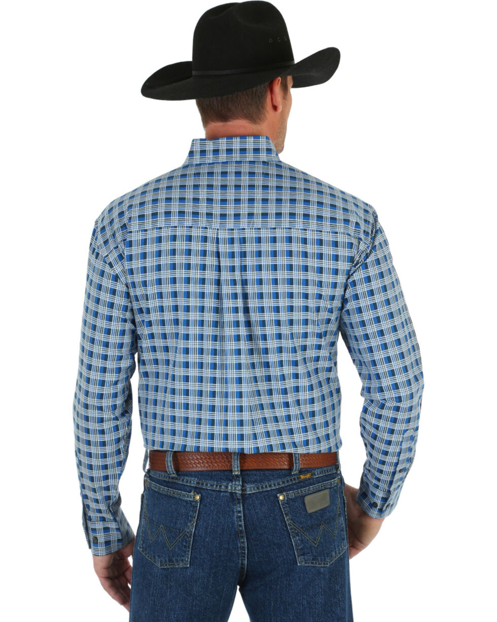 Wrangler George Strait Men's Blue & White Plaid Shirt, Blue, hi-res