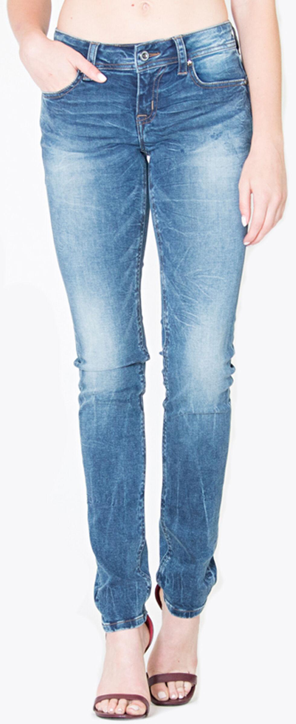Grace in LA Women's Medium Wash Plain Pocket Skinny Jeans  , Indigo, hi-res