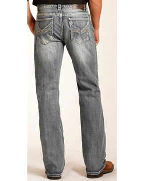 "Rock & Roll Cowboy Men's ""V"" Embroidered Double Barrel Straight Leg Jeans, Indigo, hi-res"