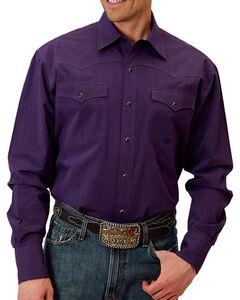 Roper Men's Purple Snap Down Western Shirt , Purple, hi-res