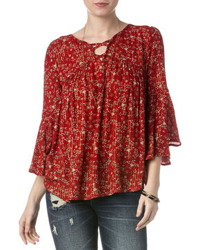 Miss Me Women's Red Floral Lace-Up Top , Red, hi-res