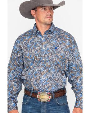 Cinch Men's Blue Paisley Print Western Shirt , Burgundy, hi-res