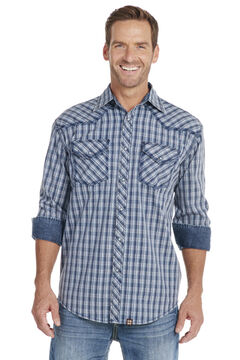 Cowboy Up Men's Blue Plaid Long Sleeve Snap Vintage Shirt, , hi-res