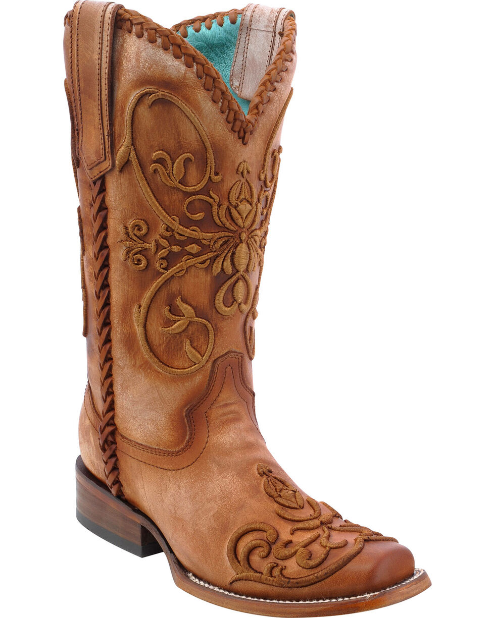 Corral Women's Whip Stitch Cowgirl Boots - Square Toe, Tan, hi-res
