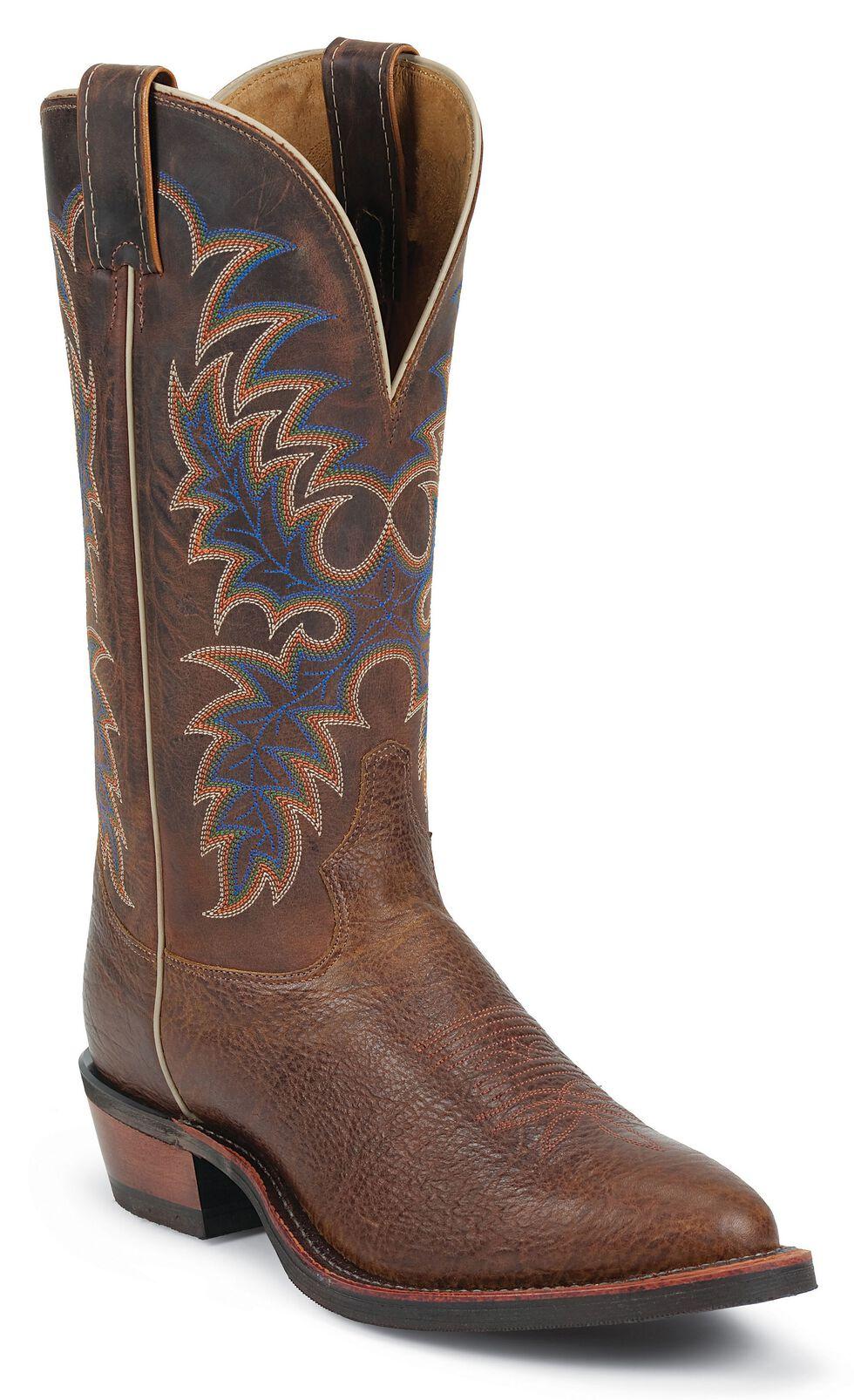 Tony Lama Americana Conquistador Shoulder Cowboy Boots - Round Toe, Cognac, hi-res