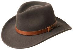 Bailey Men's Caliber Wool Felt Outback Hat, Grey, hi-res
