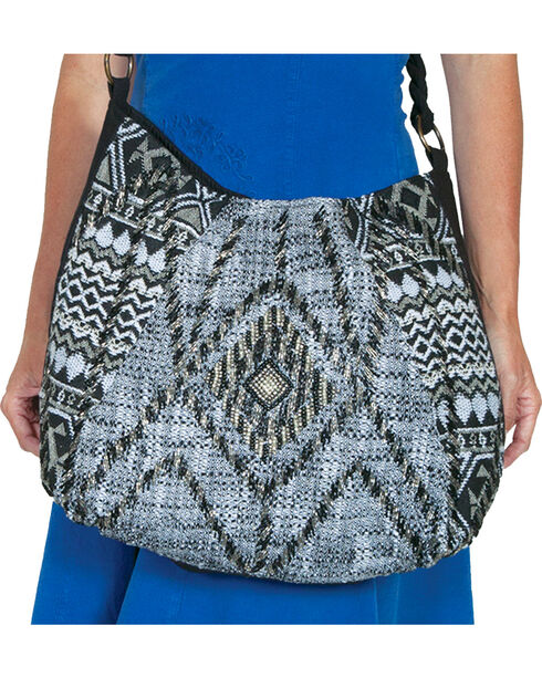 Scully Cantina Collection Black and Cream Beaded Crossbody, Black, hi-res