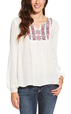Ariat Women's White Clovis Top, White, hi-res