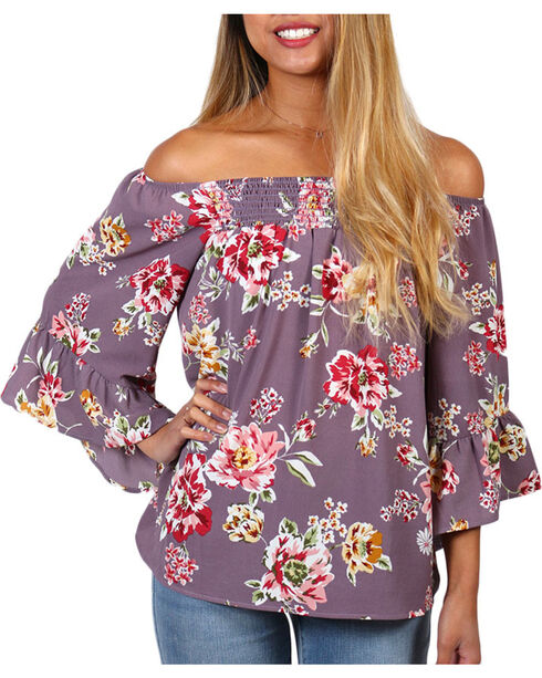 CES FEMME Women's Mauve Floral Off The Shoulder Bell Sleeve Top , Mauve, hi-res