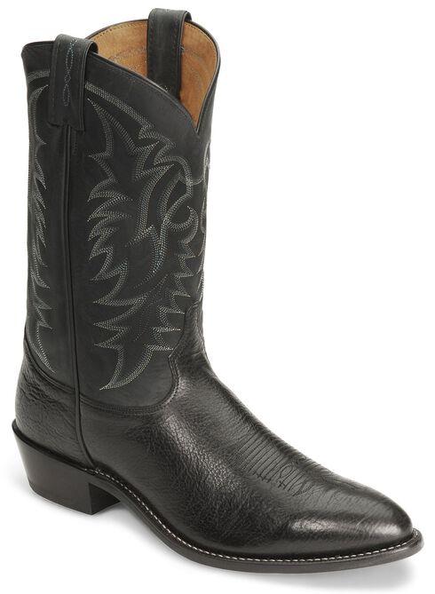 """Tony Lama 12"""" Conquistador Shoulder Boot - Medium Toe, Black, hi-res"""