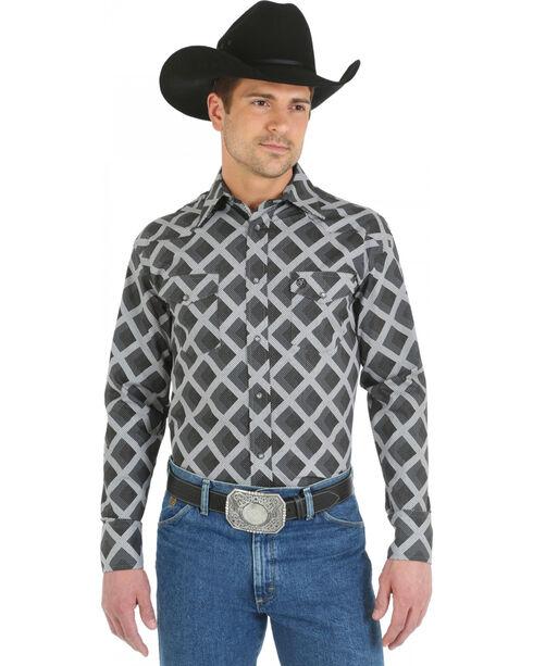Wrangler George Strait Snap Pocket Grey Diamond Print Western Shirt, Grey, hi-res