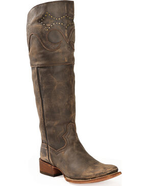 "Dan Post Women's MissTaken 18"" Sanded Leather Cowboy Boots - Square Toe, Brown, hi-res"