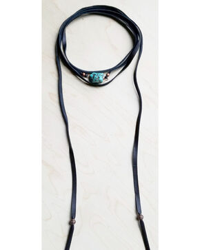 Jewelry Junkie Women's Wrap Around Choker with Turquoise Chunk in Black, Black, hi-res