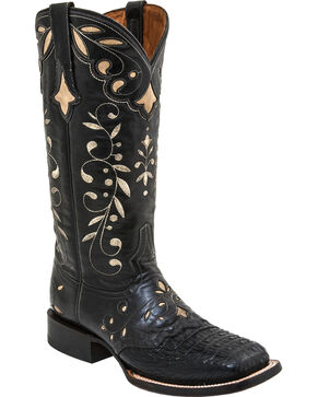 Lucchese Sherilyn Caiman Cowgirl Boots - Square Toe, Black, hi-res