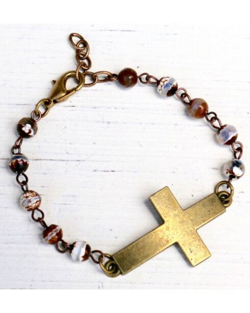 InpireDesigns Women's Gold Cross on Beaded Chain Bracelet , Gold, hi-res