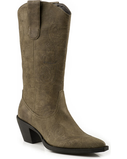 Roper Faux Leather Scroll Embroidered Cowgirl Boots - Pointed Toe, Tan, hi-res