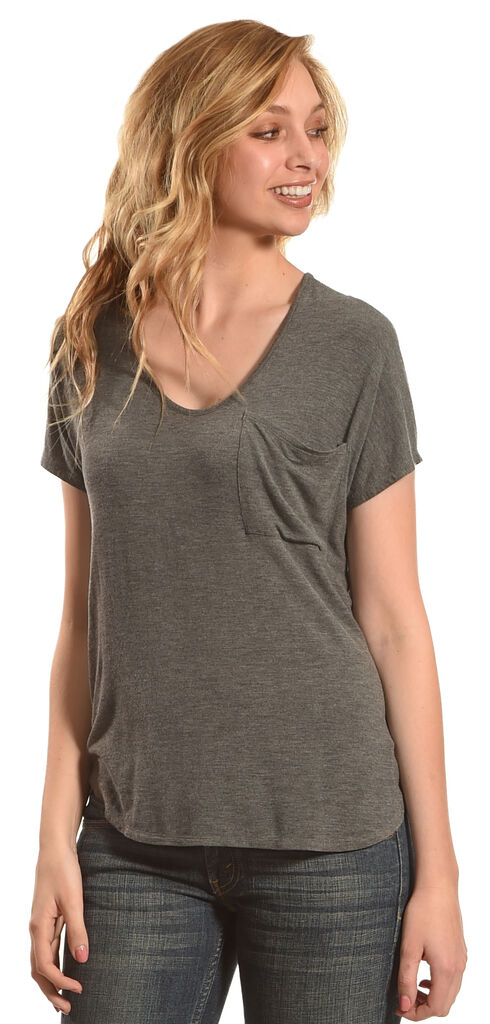 Derek Heart Women's Extended Cap Sleeve Hi Low Shirt - Grey, Grey, hi-res