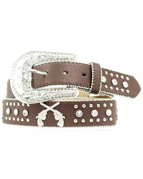 Blazin Roxx Cross Pistols Concho Studded Belt, Brown, hi-res