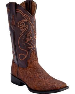Ferrini Men's Bullhide Print Western Boots - Square Toe , Brown, hi-res