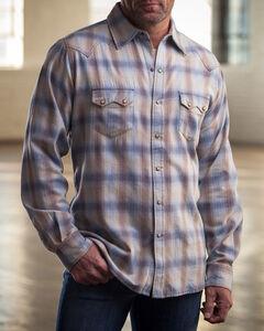 Ryan Michael Men's Blue Melange Plaid Western Shirt , , hi-res