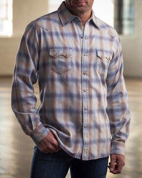 Ryan Michael Men's Blue Melange Plaid Western Shirt , Blue, hi-res