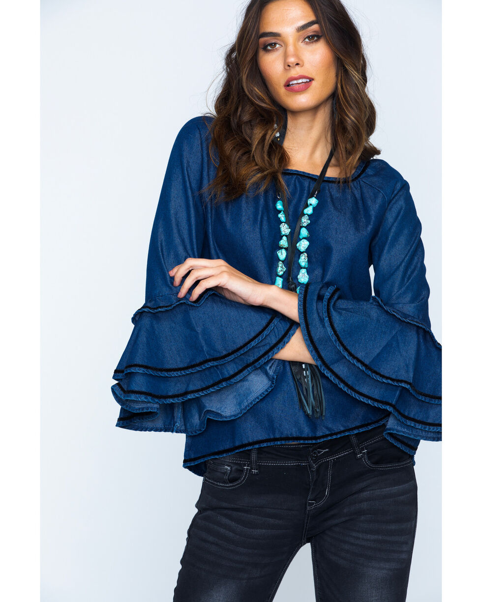 New Direction Women's Ruffle Sleeve Denim Top, Indigo, hi-res