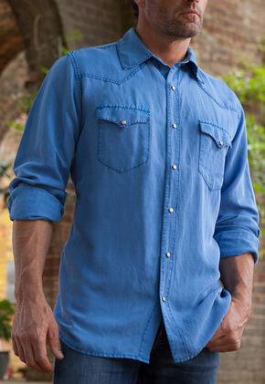 Ryan Michael Men's Cobalt Silk Linen Whip Stitch Shirt , Blue, hi-res