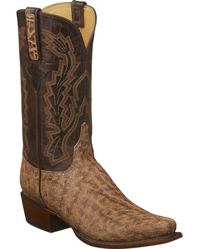 Lucchese Men's Handmade Kirkland Tan Elephant Western Boots - Square Toe, Tan, hi-res