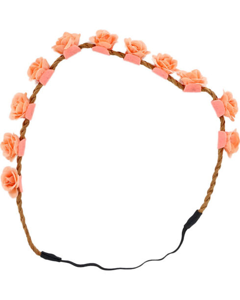 Shyanne Women's Peach Mini Rose Headband , Peach, hi-res