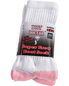 Boot Doctor Super Crew Boot Socks - 3 Pack, White, hi-res