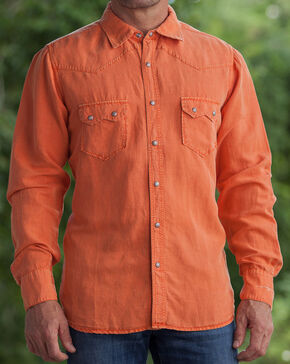 Ryan Michael Men's Salmon Silk Linen Sawtooth Snap Shirt, Red, hi-res