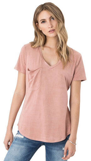 Z Supply Women's Pint Suede Pocket Tee, Pink, hi-res