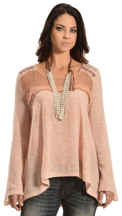 Flying Tomato Women's Bell Sleeve Knit Top, Pink, hi-res